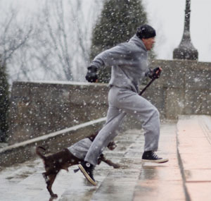 Rocky Balboa runs up the steps of the Philadelphia Art Museum in the first Rocky movie.