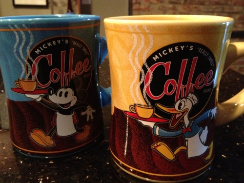 These are the mugs we got in Disney World: one Mickey Mouse and one Donald Duck.