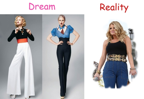 "Two models wearing stylish, high-waisted pants next to an image of Jessica Simpson wearing high-waisted ""mom jeans."""