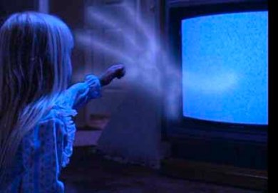 poltergeist hand comes out of the tv to get the little girl in the hit 80s horror movie, poltergeist.