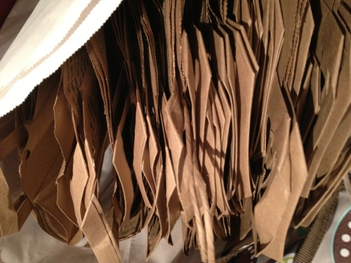 A photo of lots of paper bags.